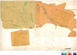 Section of map missing including title. Shows lots off Perth-Albany Road between cemetery and Duc...