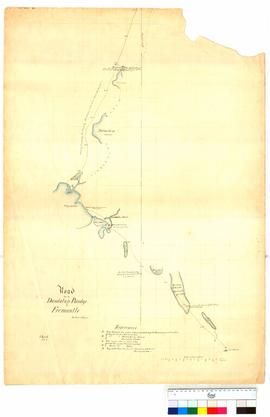 Road from the Dandalup Bridge to Fremantle, Sheet 1. From 3 mile peg to 18 mile peg by T. Watson [Tally No. 005037].