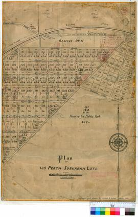 Perth 18/26. Plan of 139 Perth Suburban Lots (near Rokeby Road, Thomas Street, Eastern Railway Line & Outram Street) showing Children's Hospital, Technical College & State School site, Subiaco Railway Station [scale: 4 chains to an inch, Tally No. 00545].