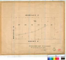Perth 18/27. Plan showing Perth Town Lots W53-W57 inc. Resumed for a drain bounded by Mangles (now Newcastle Street), Mackie (now Pier Street) & Short Streets [scale: 3 chains to an inch, Tally No. 005457].