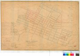 Perth 18B. Plan of Perth Townsite showing Lots, Streets & Additions & Alterations bounded by Charles Street, Mounts Bay Road & Adelaide Terrace. Bulwer Street & Swan River (Claise Brook) unsigned, possibly Roe, undated [scale: 6 chains to an inch, Tally No. 005653].