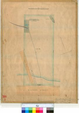 Perth 18/28. Perth Townsite Plan showing Lot L70 fronting Bazaar Street sent with letter from Lawrence applying for portion of Foreshore & River (showing position of jetty, etc.) [unsigned, scale: 4 chains to an inch, Tally No. 005452].