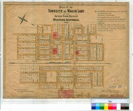 Wagin 147. Plan of Townsite of Wagin showing Lots bounded by Umbra, French & Ware Streets and...