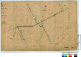 Locations - Midland Railway Co. by C.M. Denny. Fieldbook 19, pp 2-16. Locations 1833 and 1834. Location 1833 re-surveyed by G.W. Leeming Fieldbook 24, pp 31-39 [scale: 1 mile to 4 inches, Tally No. 005629].