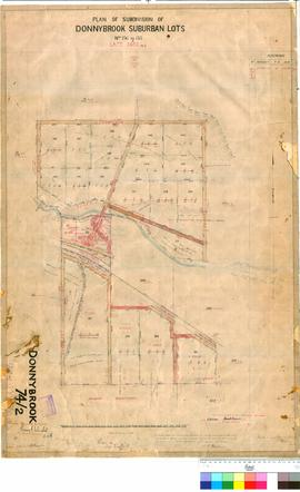 Donnybrook 74/2. Plan of subdivision of Donnybrook suburban Lots No 136 to 155. W. A. Mitchell [scale: 4 chains to 1 inch].