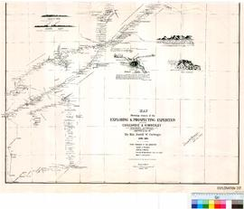 Map showing routes of the exploring and prospecting expeditions between Coolgardie and Kimberley (by) D.W. Carnegie, 1896-1897.