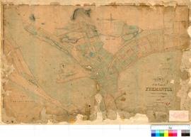 Fremantle 19R. Plan of the Town of Fremantle, Western Australia. As marked out on the ground in 1844 by Chauncy Fieldbook 8 [scale: 40 chains to 1 inch, Tally No. 005692].