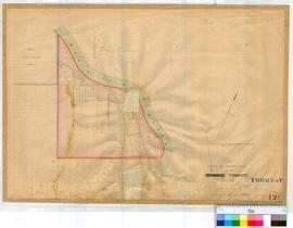Toodyay (Newcastle) 12A. Plan of Toodyay showing proposed limits and Lots facing River Avon, Harper & New Roads to York and Guildford. By Hillman [scale: 6 chains to an inch, Tally No. 005856].