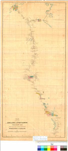 Plan showing the Adelaide and Pt Darwin Telegraph line. Compiled from official documents supplied by the Superintendent of Telegraphs [undated]. (Signed) D. Daniel Daly, Surveyor Generals Office, Adelaide.