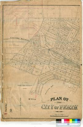 Perth 18/31. Little plan of The City of Perth copied from original 21/11/1894 showing City Lots and Streets, West Perth Railway Station & Central Railway Station & Goods Yard [scale: 5 chains to an inch].