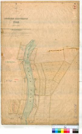 York 14A. Townsite plan of York showing Suburban Allotments in vicinity of Avon River, Pool & Newcastle Streets by William Phelps 8/1860 [unsigned, probably by R. Austen, scale: 4 chains to an inch].