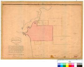 Fremantle 19E. Plan of boundaries proposed for the townsite of Fremantle in Western Australia. 7 March 1836 [scale: 1 chain to 1 inch, Tally No. 005682].