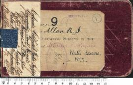 Field book no. 9 (A) R.S. Allan. Containing surveys in the Districts of Menzies and Niagara. Water reserves. 12948/97. (Coolgardie Goldfields Water Reserve. Y[sp?] Tank Reserve. water reserves at Menzies. Water Reserves at Jessops Well [details obscured])