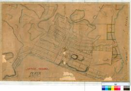 Perth 18a. Plan of Perth Township showing Lots, Streets & Lakes from Mt Eliza in West to Walt...